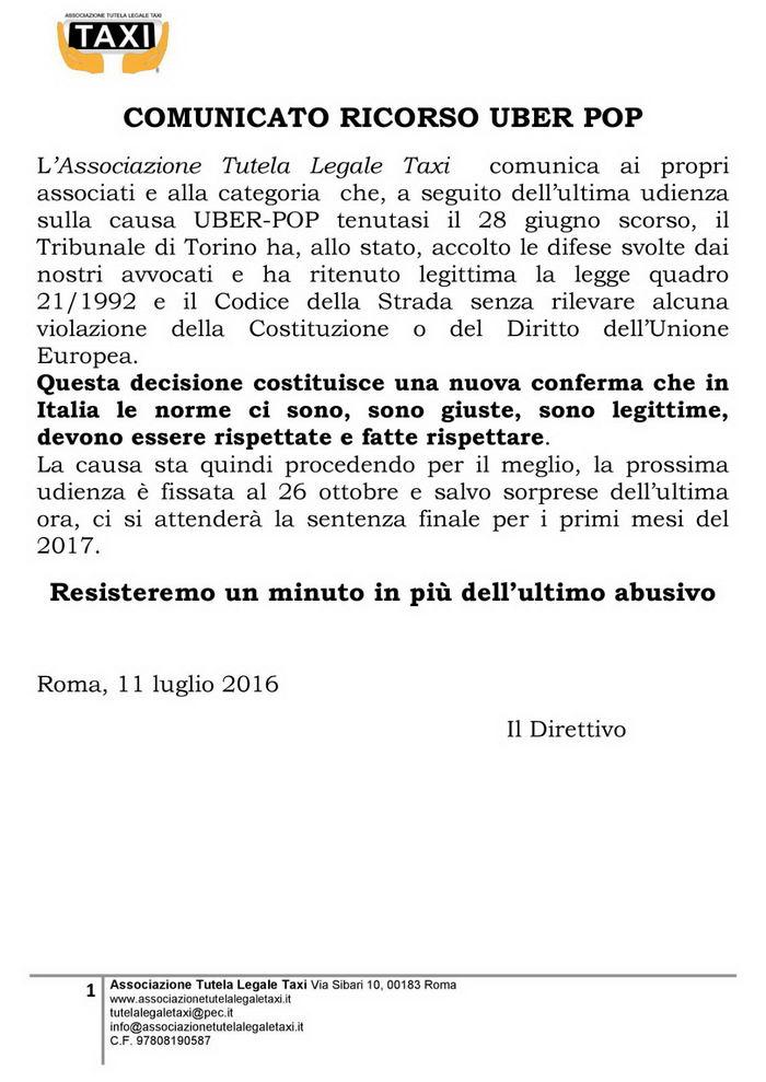 Comunicato Associazione Tutela Legale Taxi 11-07-2016